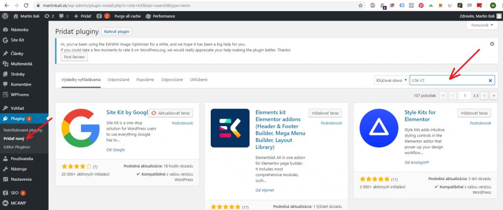 Pridávanie pluginov do WordPressu.  Martinbali.sk